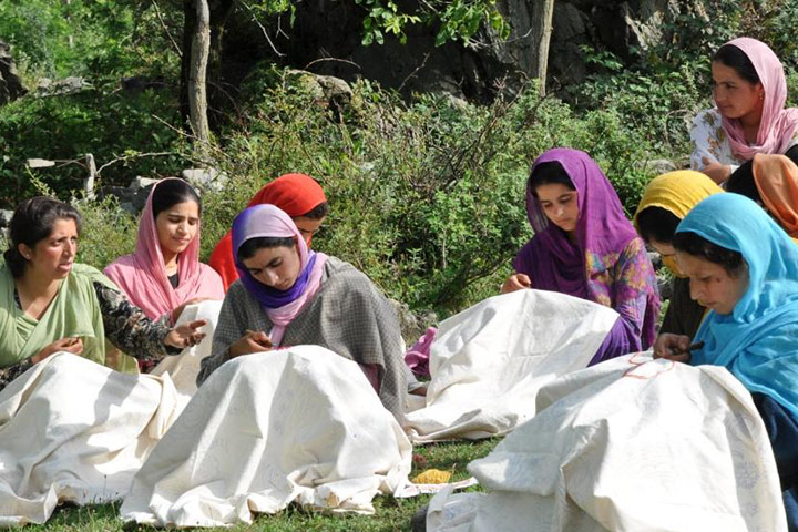 Women embroiders of Kashmir